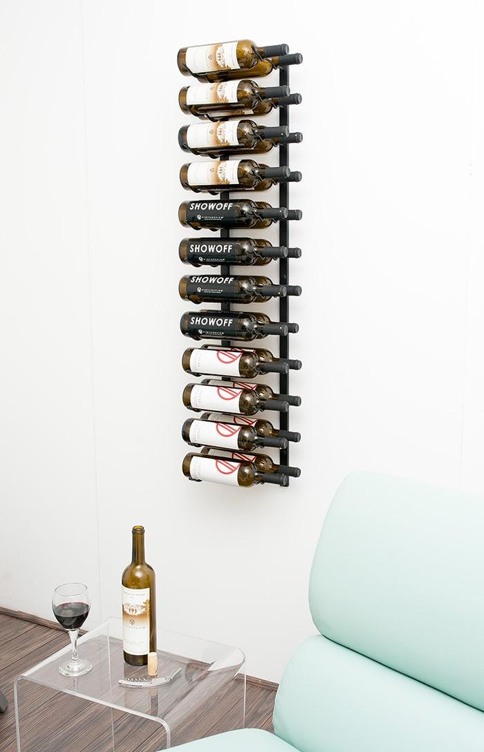 wall series 24 bottle metal wine rack in satin black finish ws42 - Metal Wine Rack