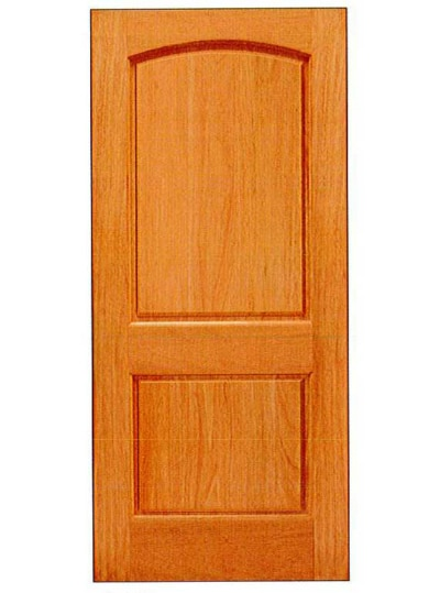 Mahogany 2 panel with arched top panel basic entry door for Basic exterior door