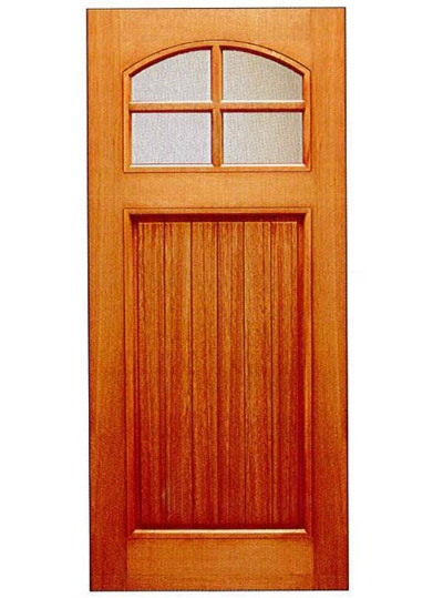 Mahogany craftsman 1 panel with 6 lites basic entry door for Basic exterior door