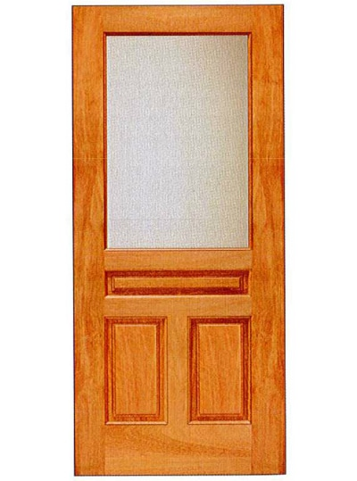 Mahogany 3 panel with 1 lite basic entry door for Basic exterior door